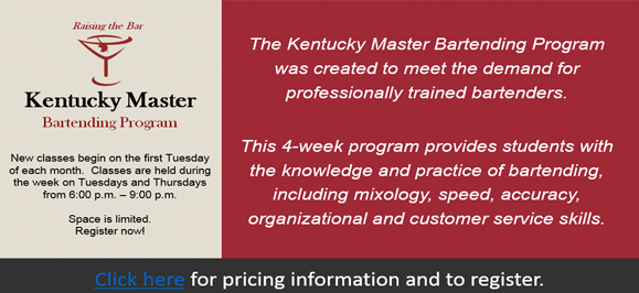 New graphic for Kentucky Master Bartending Program